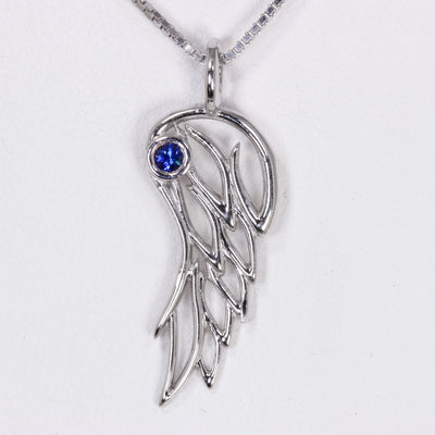 Angel Wing Pendant Sterling Silver with Sapphire