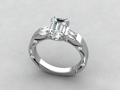 Diamond Engagement Ring For Emerald Cut Diamond