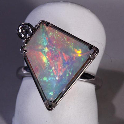 14K White Gold Faceted Welo Ethiopian Opal Ring 2