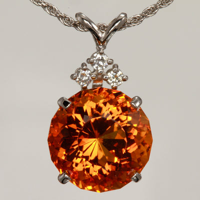 14K White Gold Deep Orange Citrine Pendant 11.66 Carats