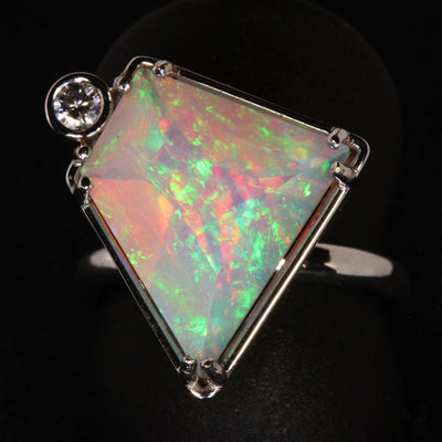 14K White Gold Faceted Welo Ethiopian Opal Ring