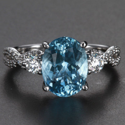 14K White Gold Aquamarine and Diamond Ring 2.98 Carats