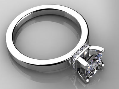 Princess Diamond Engagement Ring From the Christopher Michael Collection