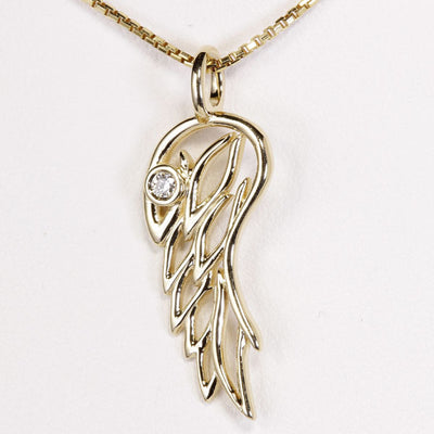 Gold Angel Wing Pendant 14kt