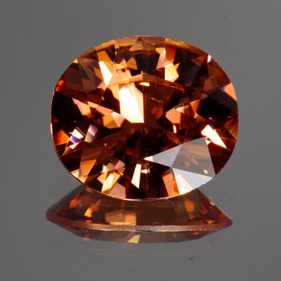 Peach Brown Oval Imperial Zircon Gemstone 4.76 Carats
