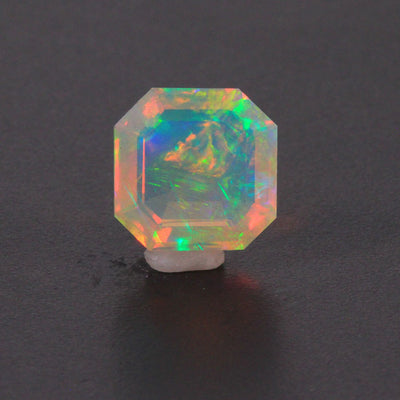 Faceted Square Stepped Crystal Welo Opal Gemstone 9.23 Carats