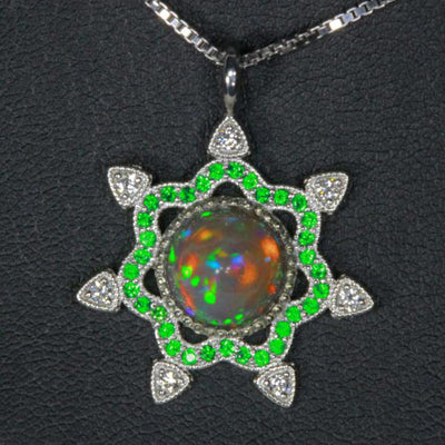 14K White Gold Snowflake Welo Opal with Tsavortie and Diamond Pendant Front View