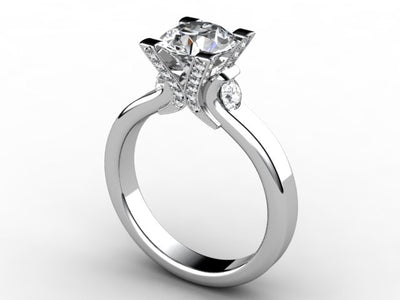 Diamond Engagement Ring For Round or Princess Diamond