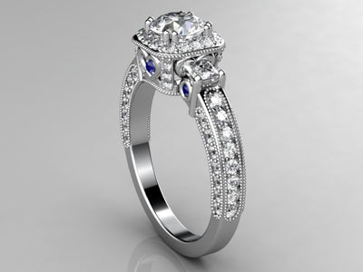 Christopher Michael  Round Brilliant Diamond Engagement Ring With Heart Accent