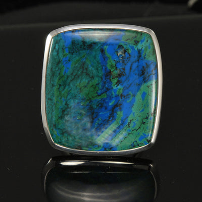 Chrysocolla from South America set in a sterling silver bezel.