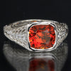 14K Whie Gold Antique Cushion Spessartite Garnet Ring