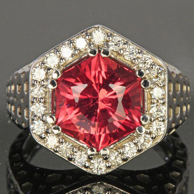 14k White Gold Pink Hexagon Tourmaline With Fine Diamonds Ring Close Up