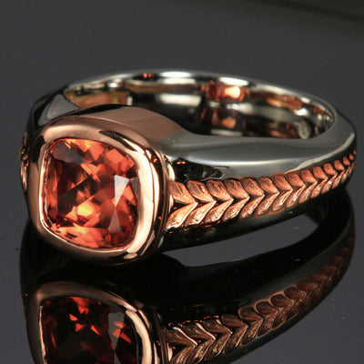 "Men""s Imperial Zircon Ring in White and Rose Gold"