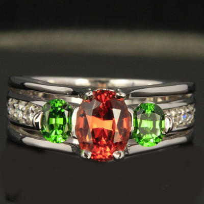 14K White Gold Oval Malaia Garnet and Tsavorite Garnet Ring