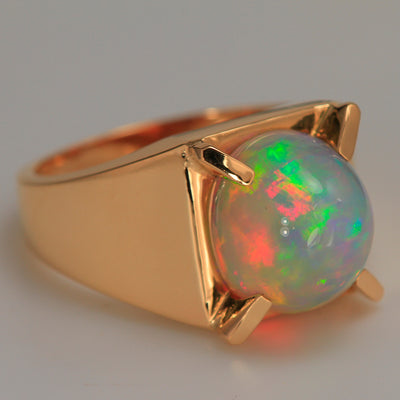 Mens Opal Ring 6.25 Carats in 14kt Yellow Gold