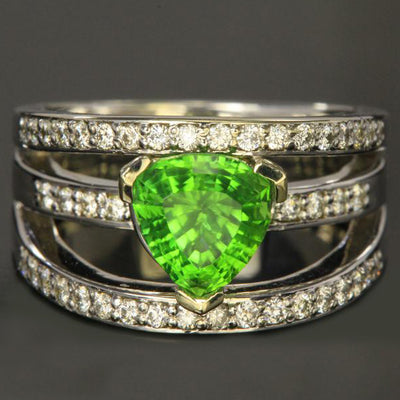 14K White Gold Chrome Tourmaline Ring 1.87 Carat