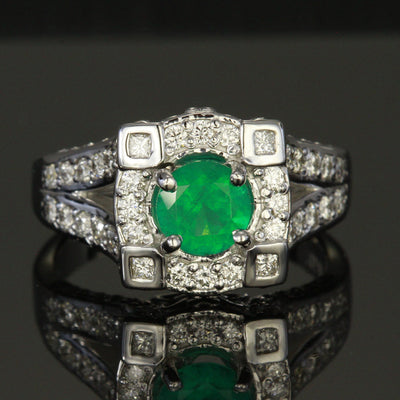 Emerald Ring with 1.01 Carats of Fine Diamonds