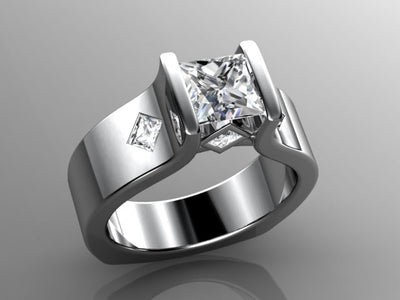 Channel Set Princess Diamond Engagement Ring