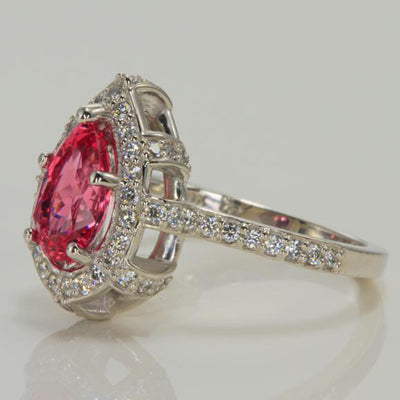 14K White Gold Pear Shape Tanzanian Spinel with Fine Diamonds Ring Side View