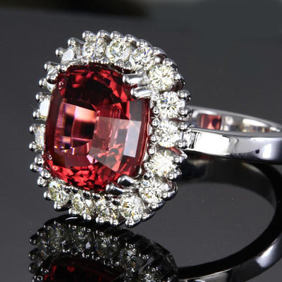14K White Gold Pink Square Cushion Tourmaline with Fine Diamonds Ring Side View