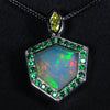 Facetted Welo Opal Accented by Tsavorite Garnet and Yellow Diamond