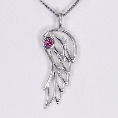 Angel Wing Pendant in Sterling Silver With Tourmaline