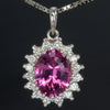 14K White Gold Oval Umbalite Garnet Pendant with Brilliant Cut Diamonds