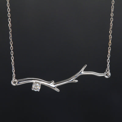 14k White Diamond Branch Pendant