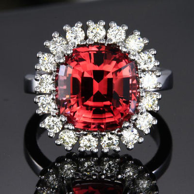 14K White Gold Pink Square Cushion Tourmaline with Fine Diamonds Ring Front View