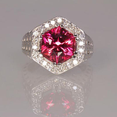 14k White Gold Pink Hexagon Tourmaline With Fine Diamonds Ring Front View