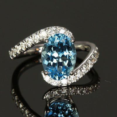 14K White Gold Aquamarine and Diamond Ring designed by Christopher Michael 3.23 Carats