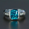 14K White Gentleman's Blue Zircon Ring 6.30 Carats