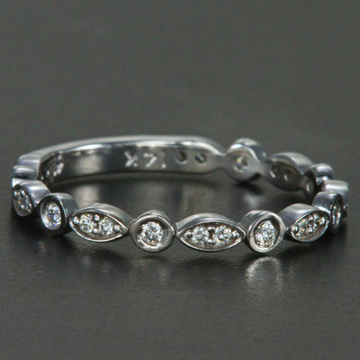 14K White Gold Ladies Diamond Anniversary Band