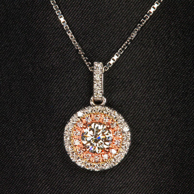 14K White and Rose Gold Diamond Pendant .70 Carats