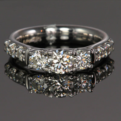 14k White Gold Three Stone Diamond Ring Designed by Steve Moriarty  1.51 Carats