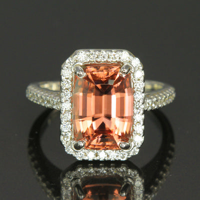 14K White Gold Imperial Zircon Ring 6.79 Carats by Christopher Michael
