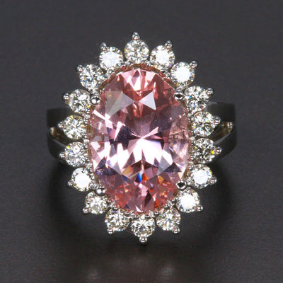 18K White Gold Oval Morganite Ring 7 Carat With Fine Diamonds