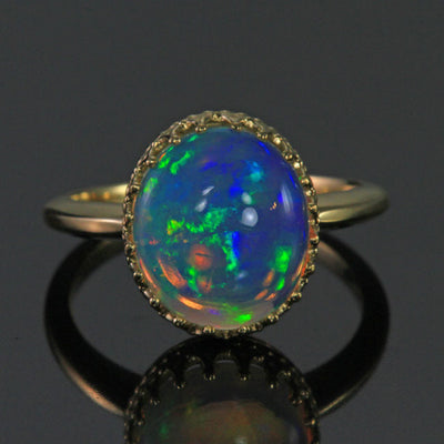 14K Yellow Gold Oval Opal Ring