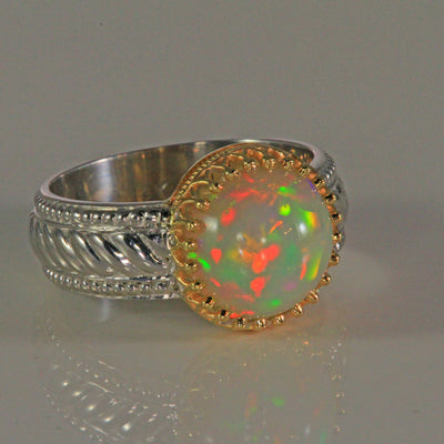 Sterling Silver and 14k Yellow Gold Round Opal Ring 3.68 Carats