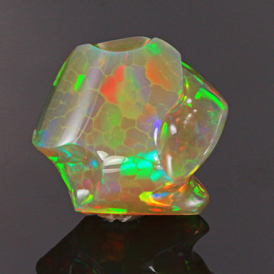 Rainbow Color Sculptured Opal Gemstone 25.92 Carats