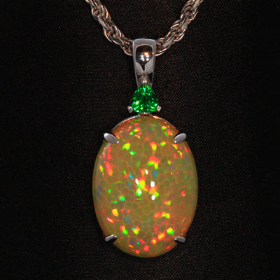 14K White Gold Welo Opal Pendant with a Trilliant Tsavorite 18.50 Carats