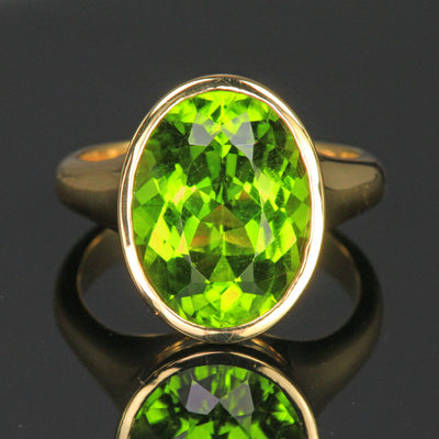 18K Yellow Gold Peridot Ring 8.01 Carats Designed by Christopher Michael
