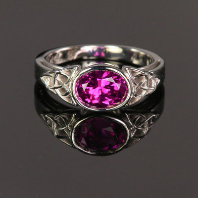grape garnet white gold ring