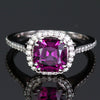 14K White Gold Purple Garnet Square Cushion Ring 2.50 Carats