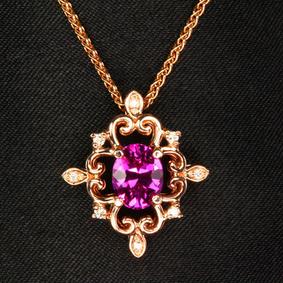 rose gold pink sapphire pendant