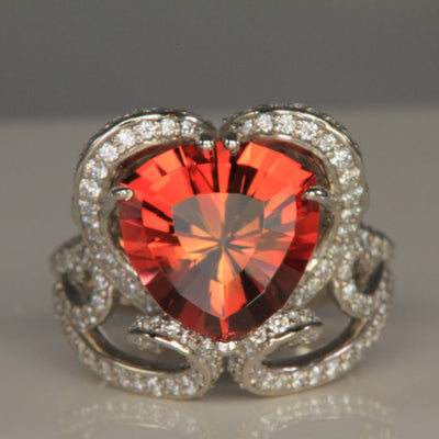 Palladium Oregon Sunstone Ring 5.38 Carats Designed by Christopher Michael