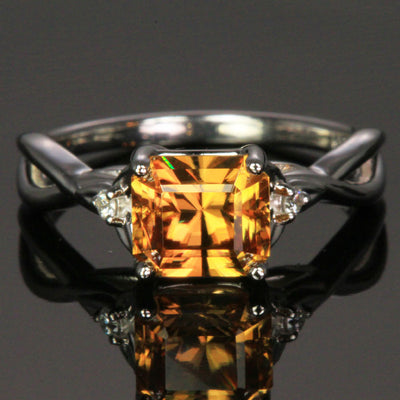 golden yellow zircon ring
