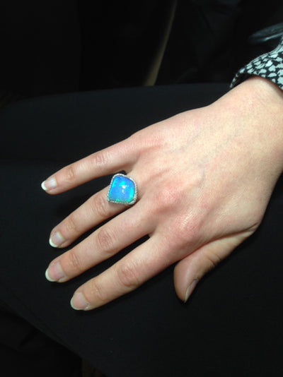 14K White Gold Shield Cut Opal Ring With High Quality Diamonds