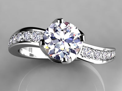 Christopher Michael Collection Round Brilliant Diamond Engagement Ring