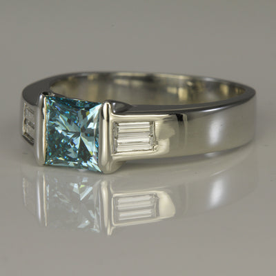 14K White Gold Blue Princess Diamond Ring